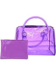 Women Bags All Seasons PVC Bag Set Zipper for Casual Office & Career Black Orange Purple Yellow Black/White