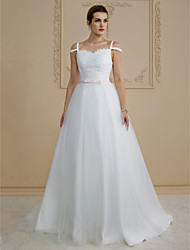 cheap -Princess Straps Sweep / Brush Train Lace / Tulle Custom Wedding Dresses with Bow(s) / Sashes / Ribbons by LAN TING BRIDE®