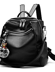 Women Bags Winter All Seasons PU Backpack Feathers / Fur Zipper for Casual Office & Career Black