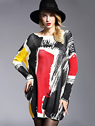 cheap -Women's Daily Going out Casual Street chic Sophisticated Color Block Boat Neck Pullover, Long Sleeves Winter Fall