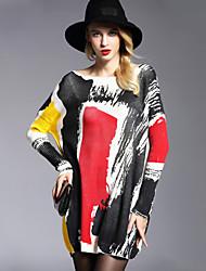 economico -Per donna Quotidiano Per uscire Monocolore Casual Moda città sofisticato Pullover, A barca Manica lunga Inverno Autunno
