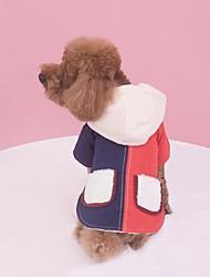 abordables -Perro Abrigos Ropa para Perro Bloques Naranja / Azul Plumón / Algodón Disfraz Para mascotas Casual / Diario