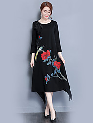 Women's Holiday Casual/Daily Loose Dress,Floral Round Neck Above Knee Half Sleeves Polyester Summer Fall High Rise Stretchy Thin