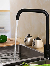 Modern/Contemporary Tall/­High Arc Deck Mounted Adjustable Temperature Ceramic Valve Black Oxide Finish , Kitchen faucet