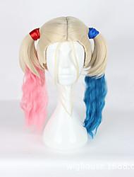 abordables -Mujer Pelucas sintéticas Sin Tapa Medio Ondulado Rubio Raya en medio Con coleta Peluca de cosplay Pelucas para Disfraz