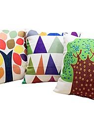 economico -3 pezzi Lino Cotone/Lino cuscino del divano Cuscino da viaggio Cuscino lungo Cuscino da letto Federa, Albero/Foglie Vari colori Stampe