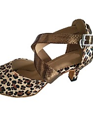 Women's Latin Satin Sandal Indoor Customized Heel Leopard Black