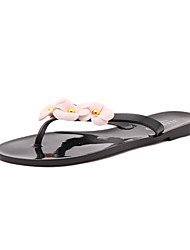 Women's Shoes PU Spring Summer Slingback Comfort Light Soles Slippers & Flip-Flops Flat Heel Peep Toe Sequin Sparkling Glitter Split