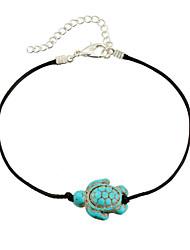 Homme Femme Bracelet de cheville/Bracelet Cuir Turquoise Mode Bohême Forme d'Animal Tortue Bijoux Pour Décontracté Bikini Plein Air Plage