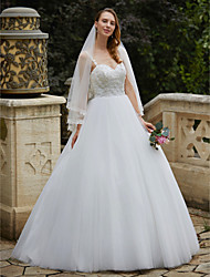 cheap -Ball Gown Spaghetti Straps Floor Length Lace Tulle Wedding Dress with Beading Appliques by LAN TING BRIDE®