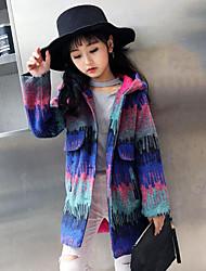 Girls' Print Jacket & Coat,Polyester Fall Winter Long Sleeve