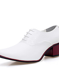 cheap -Men's Shoes Leather Fall Comfort Oxfords White / Black / Party & Evening / Novelty Shoes