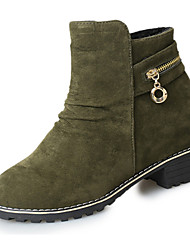 Women's Shoes Fleece Spring Fall Winter Comfort Combat Boots Boots Chunky Heel Round Toe Rhinestone For Casual Army Green Black