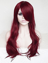 cheap -Synthetic Wig Wavy / Deep Wave Asymmetrical Haircut / With Bangs Synthetic Hair Natural Hairline Red Wig Women's Long Capless