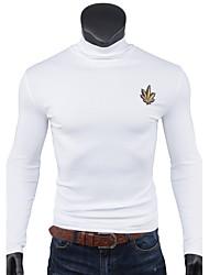 Tee-shirt Homme,Couleur Pleine Imprimé Sports Décontracté / Quotidien simple Toutes les Saisons Manches Longues Col Roulé Coton