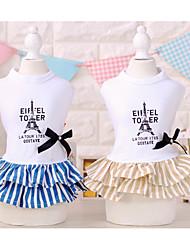 baratos -Cachorro Vestidos Roupas para Cães Formais Café / Azul Algodão Ocasiões Especiais Para animais de estimação Verão Homens / Mulheres Casual