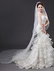 Uma Camada Grade Vestido Convertível Casamento Decoração de Cabelo Tom/Decoração Véus de Noiva Véu Catedral Com Strass Franzido Tule