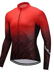 Maglia da ciclismo Unisex Manica lunga Bicicletta Maglietta/Maglia Asciugatura rapida 100% poliestere Vello Tinta unita Di tendenza