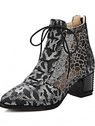 cheap -Women's Shoes PU Leatherette Fall Winter Comfort Novelty Bootie Boots Chunky Heel Pointed Toe Booties/Ankle Boots Lace-up For Party &