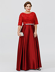 cheap -A-Line Jewel Neck Floor-length Lace Stretch Satin Plus Size Mother of the Bride Dress by LAN TING BRIDE®