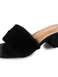 cheap -Women's Shoes PU Winter Comfort Sandals Flat Heel Open Toe For Casual Black White
