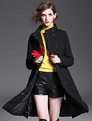 Manteau Doudoune Femme,Longue Garder au chaud Moderne/Contemporain Sortie Décontracté / Quotidien Couleur Pleine-Polyester Duvet de