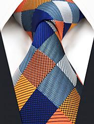 Недорогие -мужская работа случайный районный галстук - цветная проверка блока жаккарда, основная