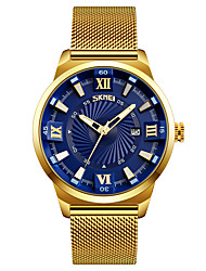 SKMEI Men's Dress Watch Fashion Watch Wrist watch Japanese Quartz Calendar Water Resistant / Water Proof Stainless Steel Band Gold