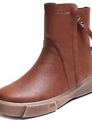 Недорогие -Жен. Обувь Полиуретан Осень / Зима Зимние сапоги / Удобная обувь Ботинки Круглый носок Сапоги до середины икры для Черный / Темно-русый