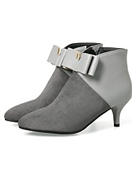 cheap -Women's Shoes Nubuck leather Leatherette Spring Fall Fashion Boots Boots Kitten Heel Pointed Toe Bowknot Split Joint Zipper For Wedding