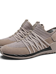 cheap -Men's Shoes Knit Fabric Fall Winter Comfort Athletic Shoes Running Shoes Lace-up For Athletic Casual Khaki Red Gray Black