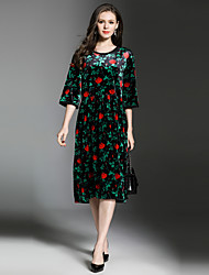 cheap -Women's Going out Vintage / Sophisticated Velvet Loose Dress - Floral Lace / Fall / Winter
