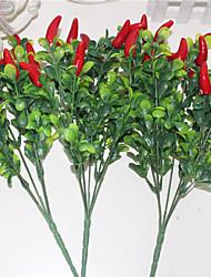 economico -34cm 3 pc 15 peperoni 5 rami / pc piante artificiali pomodori caldi peperoncini rossi