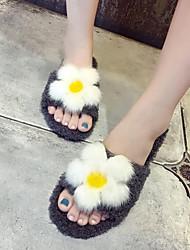 Недорогие -Для женщин Обувь Шерсть Осень Зима Мокасины Флисовая подкладка Удобная обувь Тапочки и Шлепанцы Открытый мыс Цветы Назначение