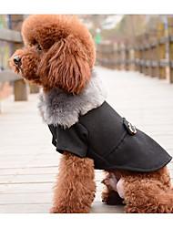 Cachorro Colete Roupas para Cães De Lã Plumagem Inverno Primavera/Outono Casual Sólido Preto Cinzento Para animais de estimação