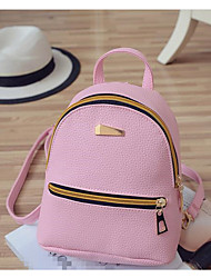 cheap -Women's Bags PU Backpack Zipper for Casual All Seasons Black Blushing Pink Light Grey