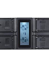 andoer en-el15 np-f970 Carregador de bateria de câmera digital de 4 canais com display lcd para nikon / sony