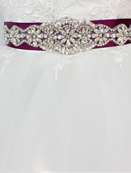 Satin/ Tulle Wedding Special Occasion Sash With Rhinestone Imitation Pearl Appliques