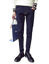 Da uomo A vita medio-alta Vintage Semplice Anelastico Jeans Pantaloni,Taglia piccola Tinta unita