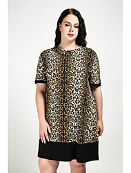 cheap -Women's Plus Size Shift Dress - Leopard