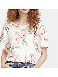 cheap -Women's Daily Going out Cute Summer T-shirt,Floral V Neck Short Sleeves Cotton Polyester Medium