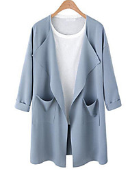 cheap -Women's Holiday Going out Punk & Gothic Sophisticated Winter Fall Trench Coat,Solid Cowl Long Sleeve Long Cotton Acrylic