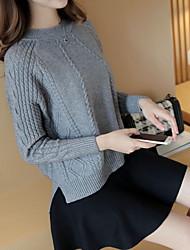 economico -Standard Pullover Da donna-Casual Tinta unita Rotonda Manica lunga Cashmere Autunno Medio spessore Media elasticità