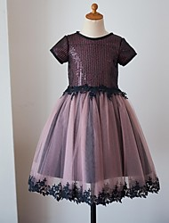 cheap -Ball Gown Knee Length Flower Girl Dress - Tulle Sequined Short Sleeves Jewel Neck with Appliques Sequins by LAN TING BRIDE®