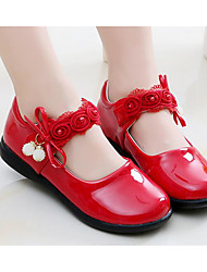 cheap -Girls' Shoes Leatherette Spring Fall Flower Girl Shoes Comfort Flats for Casual White Black Red Pink