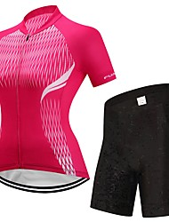 cheap -FUALRNY® Cycling Jersey with Shorts Women's Short Sleeves Bike Clothing Suits High Elasticity LYCRA® Summer Cycling/Bike Red