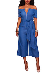 cheap -Women's Going out / Club Street chic Jumpsuit - Solid Colored, Backless / Denim Wide Leg V Neck / Summer / Fall