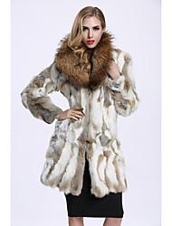 Feminino Casaco de Pêlo Casual Sofisticado Inverno,Estampa Colorida Longo Pêlo de Coelho Pêlo de Guaxinim Colarinho de Camisa