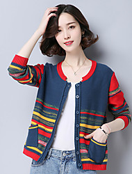 cheap -Women's Daily Regular Cardigan,Rainbow V Neck Long Sleeves Cotton Fall Medium Micro-elastic