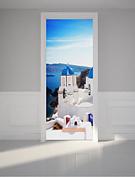 cheap -Greece Santorini Pattern Door Stickers Peel and Stick Waterproof PVC Wall Stickers Decor for Living Room 2pcs 15.1x 78.7inch Castle Building Sea Decal